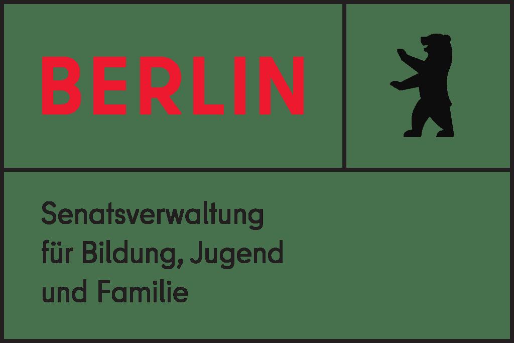 Logo der Senatsverwaltung für Bildung, Jugend und Familie. Es zeigt einen schwarzen Bären und das Wort Berlin in roter Farbe.