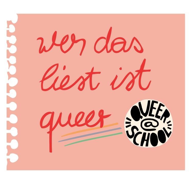 """Notizzettel mit Queer@School Logo und der Aufschrift """"Wer das liest ist queer""""."""